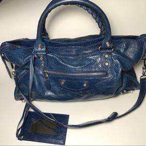 BALENCIAGA BLUE MOTOCROSS BAG